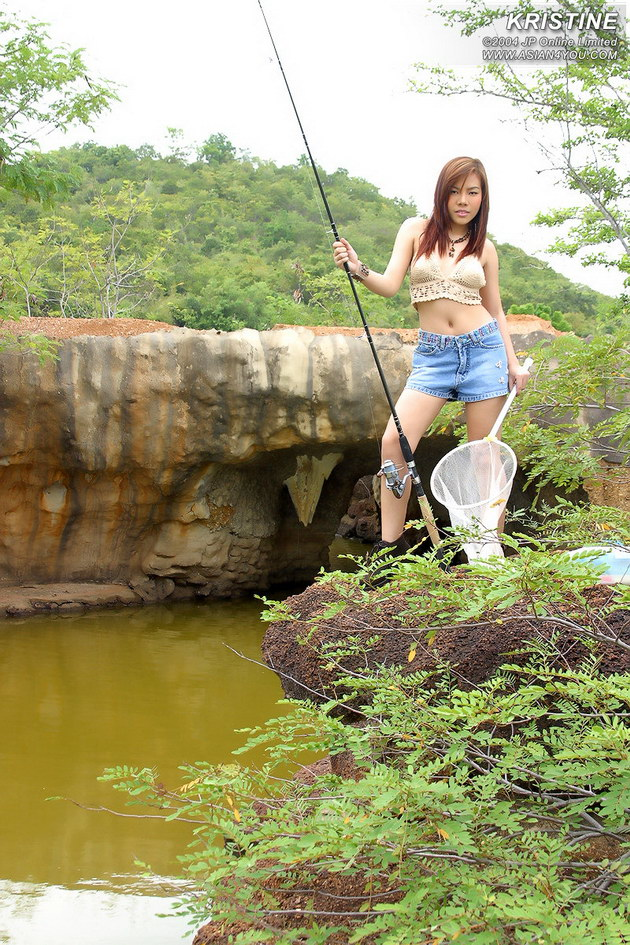 Naked girls masturbate with fishing pole are